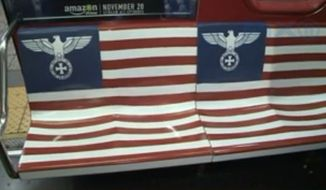 "Amazon has plastered Nazi imagery all over New York City subway cars in promoting its new series ""The Man in the High Castle,"" infuriating some passengers. (PIX11)"