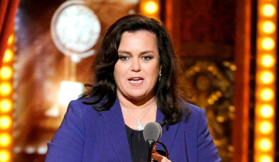 """Rosie O'Donnell accepts the Isabelle Stevenson Award on stage at the 68th annual Tony Awards in New York, in this June 8, 2014, file photo. O'Donnell isn't mincing words when it comes to Donald Trump's presidential campaign.  On Monday, Nov. 23, 2015, O'Donnell said:""""It's a nightmare."""" She didn't elaborate, adding only, """"That's my quote."""" (Photo by Evan Agostini/Invision/AP, File)"""