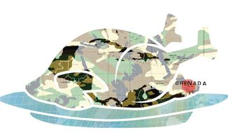 Illustration on giving thanks for the American military by Linas Garsys/The Washington Times