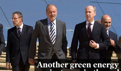 National Edition News cover for November 26, 2015 - Another green energy project goes in the red: Spain's King Juan Carlos, fourth left, walk with Abengoa Chairman Felipe Benjumea, fifth right, in front of solar panels during the inauguration of the new PS20 solar tower at the Solucar Platform in Sanlucar la Mayor, southern Spain, on Wednesday, Sept. 23, 2009. PS20, on of the most powerful commercial solar tower in the world, consists of a solar field made up of 1,255 mirrored heliostats producing a steam which is converted into electricity generation by a turbine. (AP Photo/Miguel Angel Morenatti)