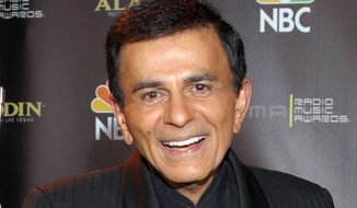 Casey Kasem poses for photographers after receiving the Radio Icon award during The 2003 Radio Music Awards at the Aladdin Resort and Casino in Las Vegas, in this Oct. 27, 2003, file photo. Three of Kasem's children sued their father's widow, Jean Kasem, on Wednesday, Nov. 25, 2015, for wrongful death, elder abuse and intentional infliction of emotional distress, claiming her actions shortened the popular radio personality's life. (AP Photo/Eric Jamison, File)