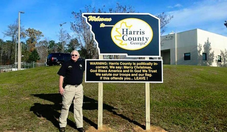 "Harris County, Ga., Sheriff Mike Jolley is gaining attention after posting a sign outside of his department Tuesday morning declaring his county ""politically incorrect."" (Facebook/@D&S Sign Company)"