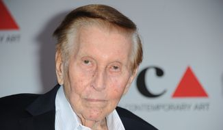 Sumner Redstone arrives at the 2013 MOCA Gala celebrating the opening of the Urs Fischer exhibition at MOCA, in Los Angeles, in this April 20, 2013, file photo. (Photo by Richard Shotwell/Invision/AP, File)