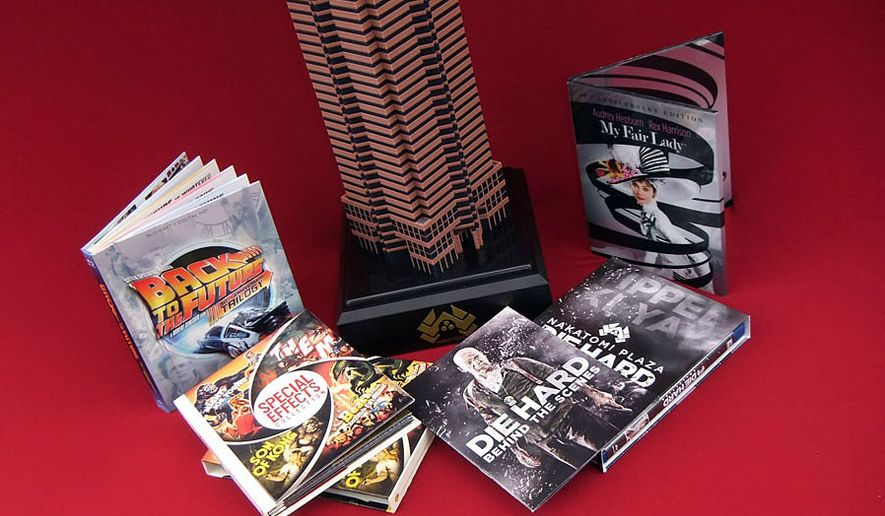 Gift ideas for movie connoisseurs include Nakatomi Plaza Die Hard Collection, Back to the Future Trilogy: 30th Anniversary Trilogy,  My Fair Lady: 50th Anniversary Edition and Special Effects Collection. (Photograph by Joseph Szadkowski / The Washington Times)