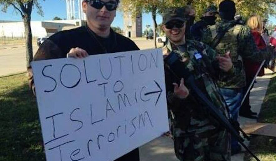 """The Bureau of American Islamic Relations, which organized a recent armed protest at a Dallas-area mosque, published the names and addresses of more than 60 Muslims and """"Muslim sympathizers"""" online Wednesday. (Facebook/@BAIR)"""