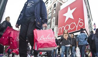 Shoppers carry bags as they cross a pedestrian walkway near Macy's in Herald Square, Friday, Nov. 27, 2015, in New York. (AP Photo/Bebeto Matthews) ** FILE **