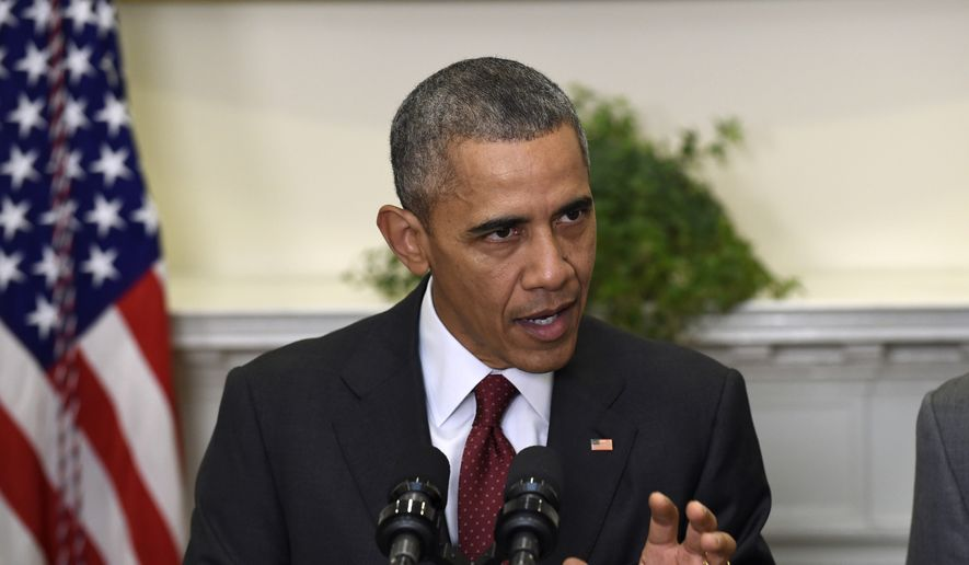 President Obama speaks in the Roosevelt Room of the White House in Washington, to brief the public on the nation's homeland security posture heading into the holiday season, following meeting with his national security team, in this Nov. 25, 2015, file photo.  (AP Photo/Susan Walsh)