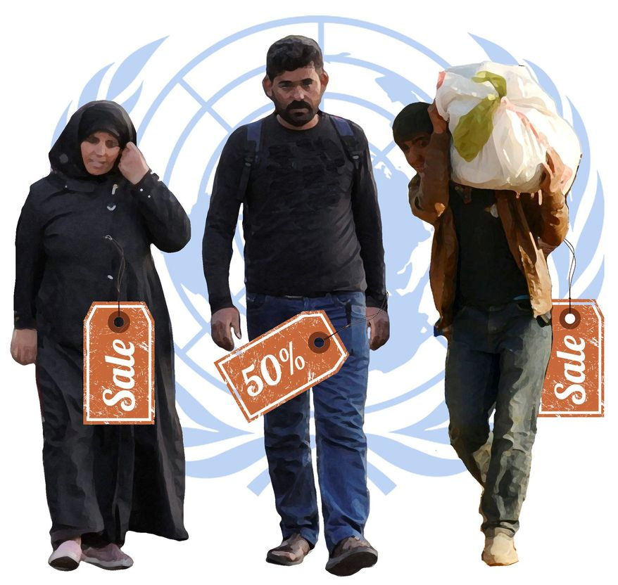 Illustration on the monetization of refugees by the United Nations and U.S. government agencies by Alexander Hunter/The Washington Times