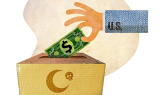 U.S. Donation to Terror Group Illustration by Greg Groesch/The Washington Times