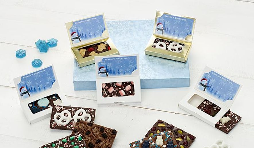 Holiday-themed chocolates are customizable from TopThisChocolate.com.  (Shana Elson)