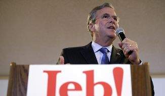 Republican presidential candidate former Florida Gov. Jeb Bush speaks during the Clinton County Republicans Annual Fall Event, Monday, Nov. 30, 2015, in Goose Lake, Iowa. (AP Photo/Charlie Neibergall)