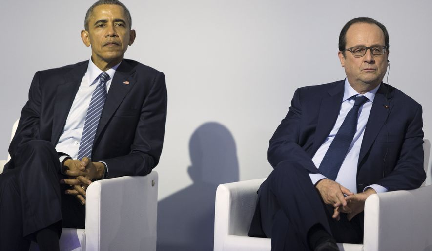 President Barack Obama, left, sits with French President Francois Hollande during a Mission Innovation event at COP21, United Nations Climate Change Conference, in Le Bourget, outside Paris, on Monday, Nov. 30, 2015. (AP Photo/Evan Vucci)