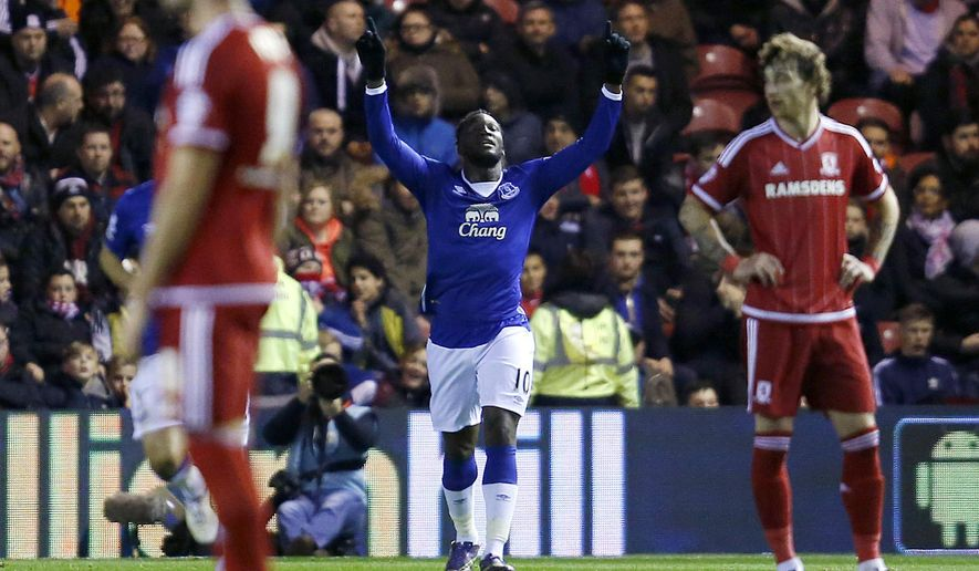 Everton's Romelu Lukaku celebrates scoring against Middlesbrough during the quarterfinal English League Cup at the Riverside Stadium, Middlesbrough, England, Tuesday Dec. 1, 2015. (Owen Humphreys/PA via AP) UNITED KINGDOM OUT