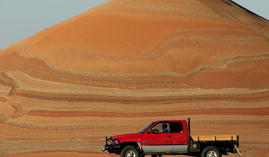 In this photo taken Tuesday, Nov. 10, 2015, a motorist passes a pile of milo at a grain storage facility near Canton, Kan. Record crops for grains like milo contribute to low commodity prices for farmers which is fueling a surge in agriculture operating loans. (AP Photo/Charlie Riedel)