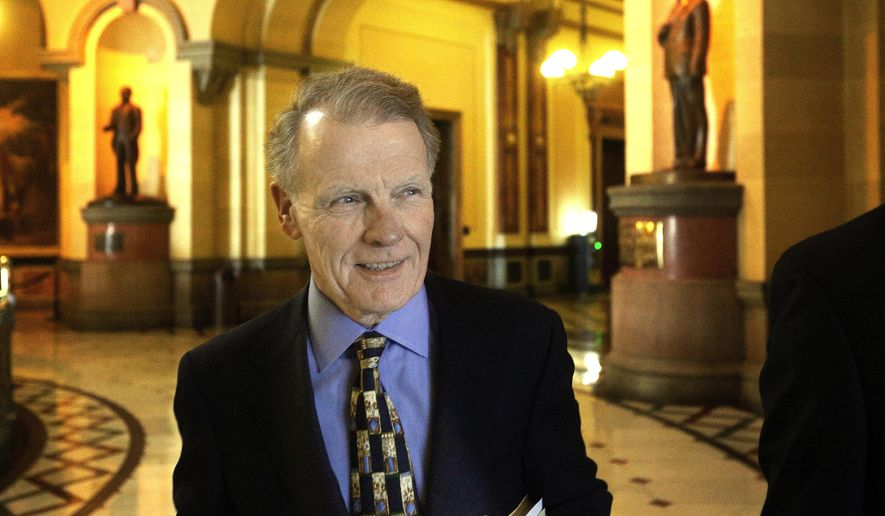Illinois Speaker of the House Michael Madigan, D-Chicago, speaks to reporters before walking into the governor's office at the Illinois State Capitol Tuesday, Dec. 1, 2015, in Springfield, Ill. Rauner and legislative leaders are meeting in a highly publicized and partially public budget summit. Expectations are low for outcomes of the first meeting since May that includes all five officials.  (AP Photo/Seth Perlman)
