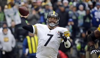 Pittsburgh Steelers quarterback Ben Roethlisberger throws against the Seattle Seahawks in the first half of an NFL football game, Sunday, Nov. 29, 2015, in Seattle. (AP Photo/Ted S. Warren) ** FILE **