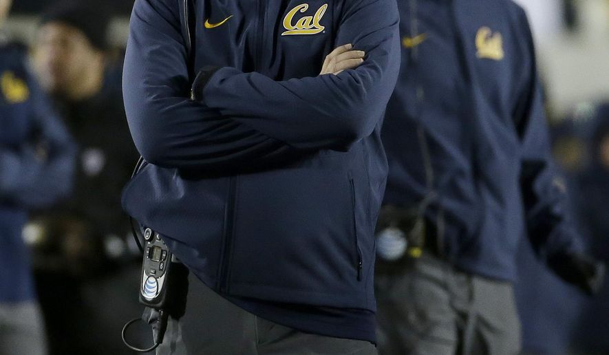 California head coach Sonny Dykes watches during the second half of an NCAA college football game against Arizona State in Berkeley, Calif., Saturday, Nov. 28, 2015. California won 48-46. (AP Photo/Jeff Chiu)