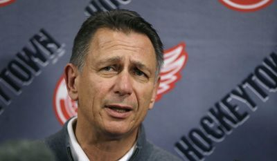FILE - In this Wednesday, May 20, 2015, file photo, Detroit Red Wings General Manager Ken Holland addresses the media in Detroit to discuss the head coaching vacancy as coach Mike Babcock will now be the new head hockey coach with the Toronto Maple Leafs. Goal-scoring is slipping once again in the NHL. Holland said the decline in scoring is tied to an uptick in competitive balance. (AP Photo/Carlos Osorio, File)