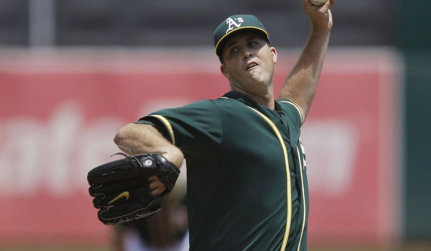 FILE - In this July 23, 2015, file photo, Oakland Athletics pitcher Drew Pomeranz works against the Toronto Blue Jays in the first inning of a baseball game, in Oakland, Calif. (AP Photo/Ben Margot, File)