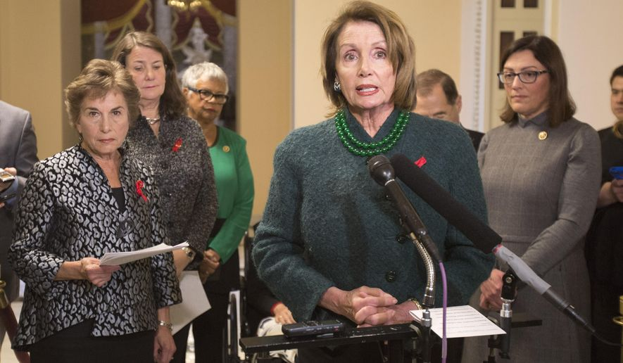 House Minority Leader Nancy Pelosi of Calif., center, with from left, Rep. Jan Schakowsky, D-Ill., Rep. Diana DeGette, D-Colo., Rep. Bonnie Watson Coleman, D-N.J., Rep. Jerrold Nadler, D-N.Y., and Rep. Suzan DelBene, D-Wash., speaks to members of the media, on Capitol Hill in Washington, Tuesday, Dec. 1, 2015, regarding the House Select Committee to Investigate Planned Parenthood. (AP Photo/Pablo Martinez Monsivais)