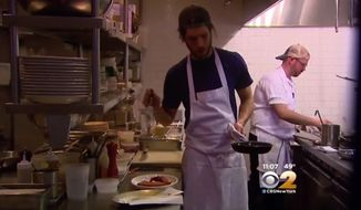 Franny's owner Francine Stephens is blaming Obamacare for the new surcharge on customers' checks. (CBS2 New York)