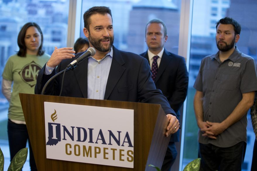 Doug Dayhoff, president of Upland Brewing Company, speaks during a news conference in Indianapolis, Wednesday, Dec. 2, 2015 as part of a coalition of Indiana business leaders as they launch a campaign in support of extending Indiana's civil rights protections based on sexual orientation or gender identity. That issue is expected to be at the forefront of the state legislative session that starts in early January. (AP Photo/Michael Conroy)