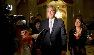 """""""If you look at the mastermind behind Paris, he bragged about the freedom of travel throughout Europe and the easiness of it,"""" said House Majority Leader Kevin McCarthy, California Republican. """"We have a real concern of that ability to come to America without a check."""" (Associated Press)"""