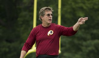 Washington Redskins offensive line coach Bill Callahan gestures as he works with players during NFL football minicamp at Redskins Park, Wednesday, June 17, 2015, in Ashburn, Va. (AP Photo/Pablo Martinez Monsivais)