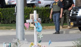 A small memorial is set up across from the Inland Regional Center in San Bernardino, Calif., on Thursday, Dec. 3, 2015, after a mass shooting at the location on Wednesday. (James Quigg/The Victor Valley Daily Press via AP) MANDATORY CREDIT
