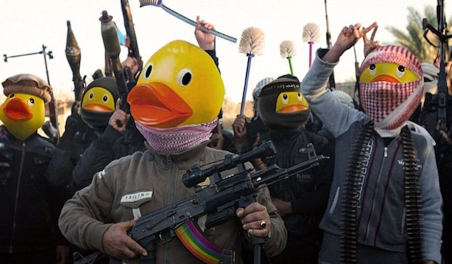 Pranksters online are mocking the Islamic State terror group by superimposing rubber duck heads over jihadist militants. (Image: Twitter @UberDanger)
