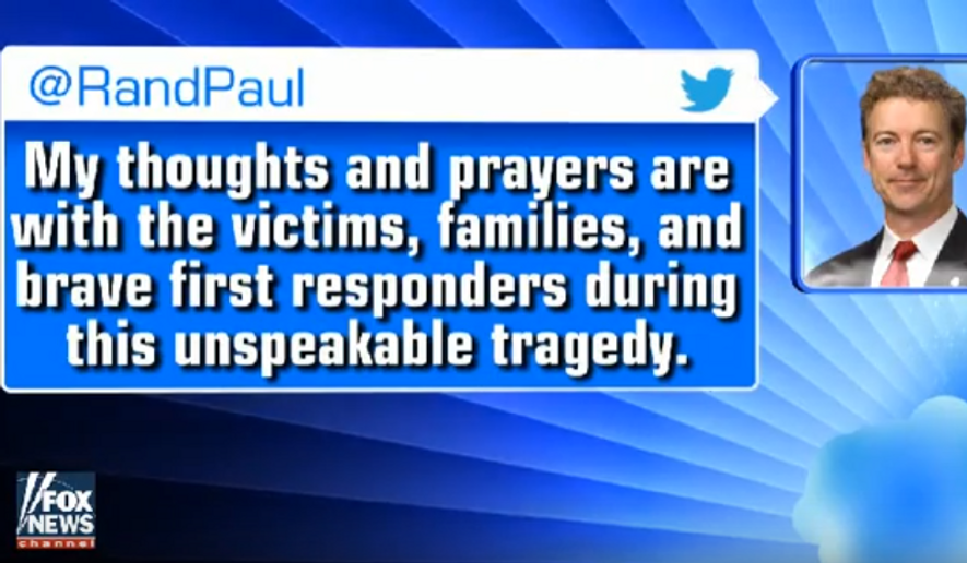 Sen. Rand Paul's tweet about prayer and San Bernardino. (Screen capture from Fox News, via YouTube.)