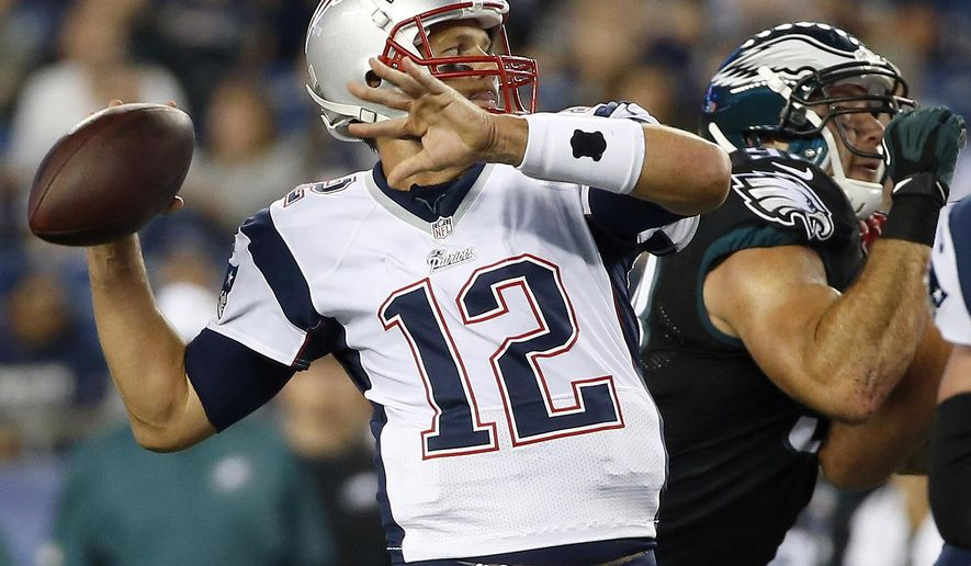 FILE - In this Aug. 15, 2014, file photo, New England Patriots quarterback Tom Brady (12) throws a pass against the Philadelphia Eagles during the first quarter of a preseason NFL football game in Foxborough, Mass.  The Philadelphia Eagles (4-7) aren't good enough to take any team lightly, especially not Brady and the Patriots (10-1).   Brady won't have receiver Julian Edelman and All-Pro tight end Rob Gronkowski is expected to be out because of injuries on Sunday, but he makes everyone around him better.  (AP Photo/Elise Amendola, File)