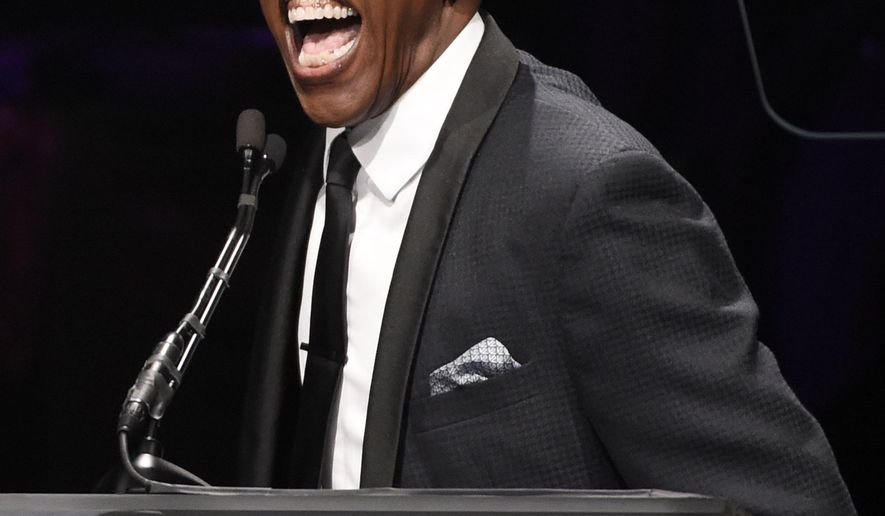 Host Arsenio Hall speaks to the audience during EBONY magazine's 30th Annual Power 100 Gala at the Beverly Hilton on Wednesday, Dec. 2, 2015, in Beverly Hills, Calif. (Photo by Chris Pizzello/Invision/AP)