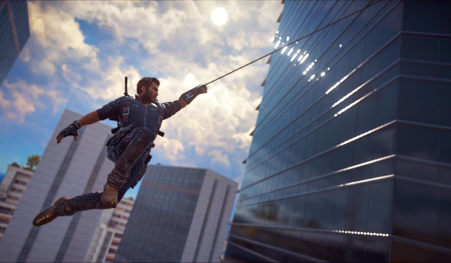 """This image provided by Avalanche Studios shows a scene from the video game, """"Just Cause 3."""" The third installment of the zany blow-'em-up series finds parachute-equipped hero Rico Rodriguez back in his Mediterranean homeland after successfully overthrowing evil dictators in the Caribbean and Southeast Asia. (Courtesy of Avalanche Studios via AP)"""