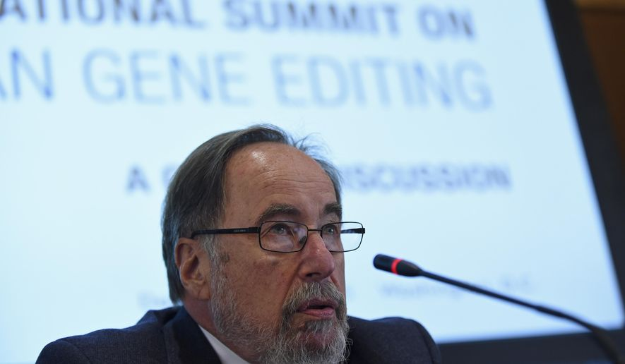 In this photo taken Dec. 1,2015, Nobel laureate David Baltimore of CalTech speaks to reporters at the National Academy of Sciences international summit on the safety and ethics of human gene editing, in Washington. Organizers of an international summit say a tool to edit human genes is nowhere near ready to attempt in pregnancy but they're calling for more laboratory research with the revolutionary technology. Editing the human genetic code promises to lead to long sought rules for intractable diseases. But it also could be used to alter human heredity, passing genetic alterations to future generations.  (AP Photo/Susan Walsh)
