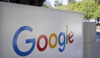 This Oct. 20, 2015, photo, shows a sign outside Google headquarters in Mountain View, Calif. (AP Photo/Marcio Jose Sanchez)