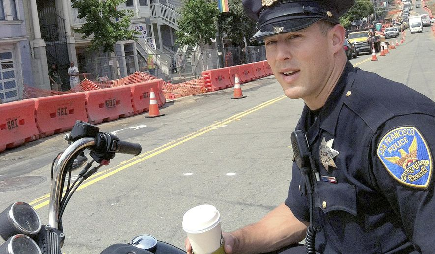 This undated photo released by Mark Abramson shows San Francisco Police officer Christoper Kohrs. Kohrs was placed on medical leave before he was arrested on suspicion of hit-and-run and will be suspended when he is eligible to return to duty, authorities said Monday, Nov. 30, 2015. (Mark Abramson via AP)