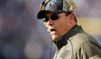 FILE - In this Nov. 15, 2015, file photo, Carolina Panthers head coach Ron Rivera watches from the sideline in the second half of an NFL football game against the Tennessee Titans in Nashville, Tenn.  The last time the Panthers visited the Superdome, they were 3-8-1 and Rivera was fielding questions about his job security. They won that game and haven't lost in the regular season since. The Saints are desperate to end that streak where it started. (AP Photo/Weston Kenney, File)