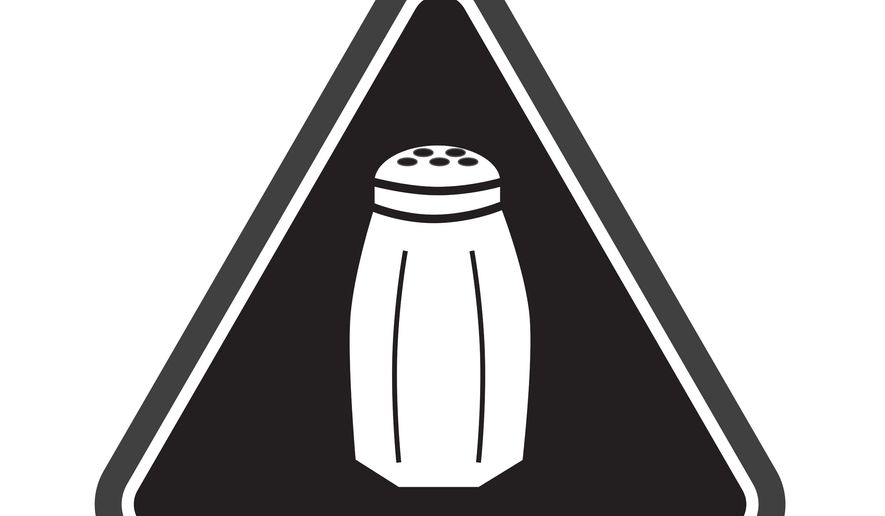 FILE - In this undated image released earlier this year by the New York City Health Department, a graphic warning NYC consumers of high salt content in foods that is now required on menus at many fast-food and chain restaurants is already headed for a court fight. The National Restaurant Association says it filed a lawsuit in Manhattan on Thursday, two days after the first-of-its-kind rule took effect. The rule requires chain restaurants to put the salt-shaker icon on menu items that top the recommended daily limit of 2,300 milligrams of sodium, about a teaspoon of salt. (Antonio D'Angelo/New York City Health Department via AP)