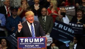 Republican presidential candidate Donald Trump speaks at Dorton Arena in Raleigh, N.C., Friday, Dec. 4, 2015.   (AP Photo/Ted Richardson) **FILE**