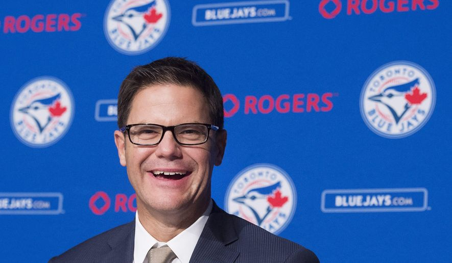 Toronto Blue Jays new general manager Ross Atkins answesr questions during a press conference in Toronto on Friday, Dec. 4, 2015. (Nathan Denette/The Canadian Press via AP)
