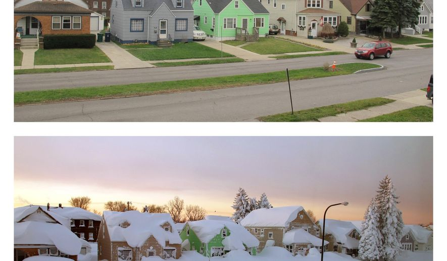 This combination of Dec. 4, 2015, top, and Nov. 19, 2014 photos shows homes in Buffalo, N.Y. The start of the 2015 winter season in Buffalo couldn't be more different from the previous year. Some areas of the suburbs saw 7 feet of snow in November 2014. The National Weather Service says that as of Friday, Dec. 4, 2015, the record for the latest date without measurable snowfall has been broken. (AP Photo/Carolyn Thompson)