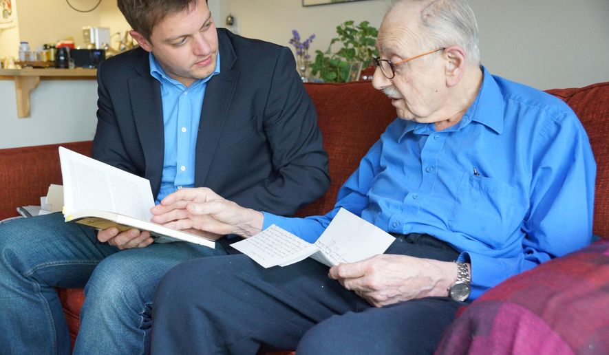 ADVANCE FOR WEEKEND EDITIONS, DEC. 4-5 - In this photo taken, Nov. 25 2015, Christian Salewski, a German journalist, left, meets with Edward Engelberg, 86, in Portland, Ore., as part of a reporting project aimed at finding the portrait Engelberg's mother bartered in exchange for a Swiss visa that secured his father's freedom from the Dachau concentration camp. (Kelly House/The Oregonian via AP) MAGS OUT; TV OUT; NO LOCAL INTERNET; THE MERCURY OUT; WILLAMETTE WEEK OUT; PAMPLIN MEDIA GROUP OUT; MANDATORY CREDIT