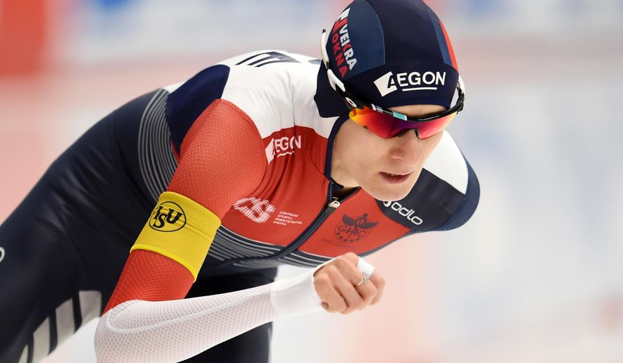 Czech Republic's  Martina Sablikova  competes during the women's 3,000m to win the event during the speed skating World Cup in Inzell, Germany, Friday Dec. 4, 2015.  ( Tobias Hase/dpa via AP)