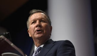 Republican presidential candidate, Ohio Gov. John Kasich speaks at the Republican Jewish Coalition Presidential Forum in Washington, Thursday, Dec. 3, 2015. (AP Photo/Susan Walsh)
