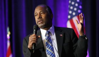 Republican presidential candidate Dr. Ben Carson speaks at the States and Nation Policy Summit of the American Legislative Exchange Council and the American City County Exchange, Friday, Dec. 4, 2015, in Phoenix. (AP Photo/Matt York) ** FILE **