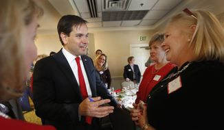 Republican presidential candidate, Sen. Marco Rubio, R-Fla., speaks with members of at the Seacoast Republican Women during their holiday luncheon, Friday, Dec. 4, 2015, in Greenland, N.H. (AP Photo/Jim Cole)