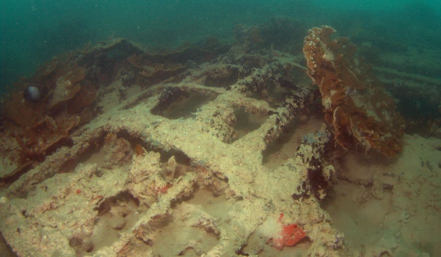 This June 15, 2015 photo provided by the University of Hawaii Marine Option program shows the wreck of a seaplane downed during the Japanese attack on Pearl Harbor. New images of the plane show a coral-encrusted engine and reef fish swimming in and out of a hull. (Jeff Kuwabara, University of Hawaii Marine Option Program via AP)