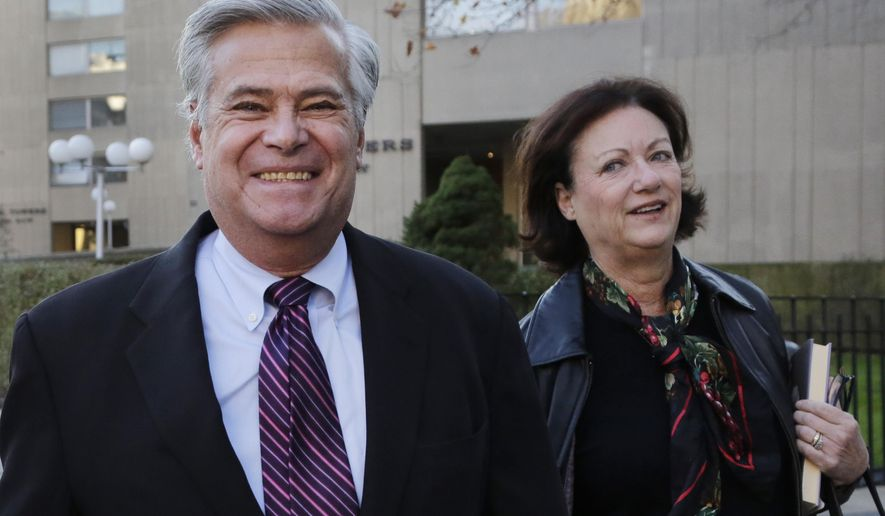 Former New York Senate Majority Leader Dean Skelos and his wife, Gail, arrive at federal court, Thursday, Dec. 3, 2015, in New York. Skelos and his son, Adam, are on trial for corruption charges. (AP Photo/Mark Lennihan)