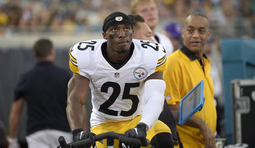 FILE - In this Aug. 14, 2015, file photo, Pittsburgh Steelers defensive back Brandon Boykin (25) works on a stationary bicycle behind the bench during the first half of an NFL preseason football game against the Jacksonville Jaguars in Jacksonville, Fla. The Steelers traded for cornerback Brandon Boykin in August hoping he would give the secondary a lift. Four months later, Boykin may finally be getting his shot as coach Mike Tomlin considers changes to an underperforming unit.  (AP Photo/Phelan M. Ebenhack, File)